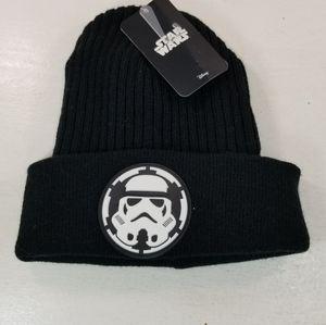 STAR WARS Disney Black Knit Beanie Stormtrooper Emblem Hat NEW